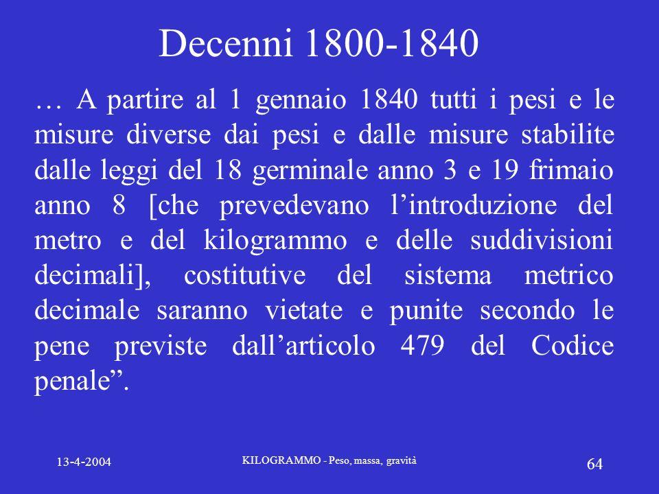 13-4-2004 KILOGRAMMO - Peso, massa, gravità 64 Decenni 1800-1840 … A partire al 1 gennaio 1840 tutti i pesi e le misure diverse dai pesi e dalle misur