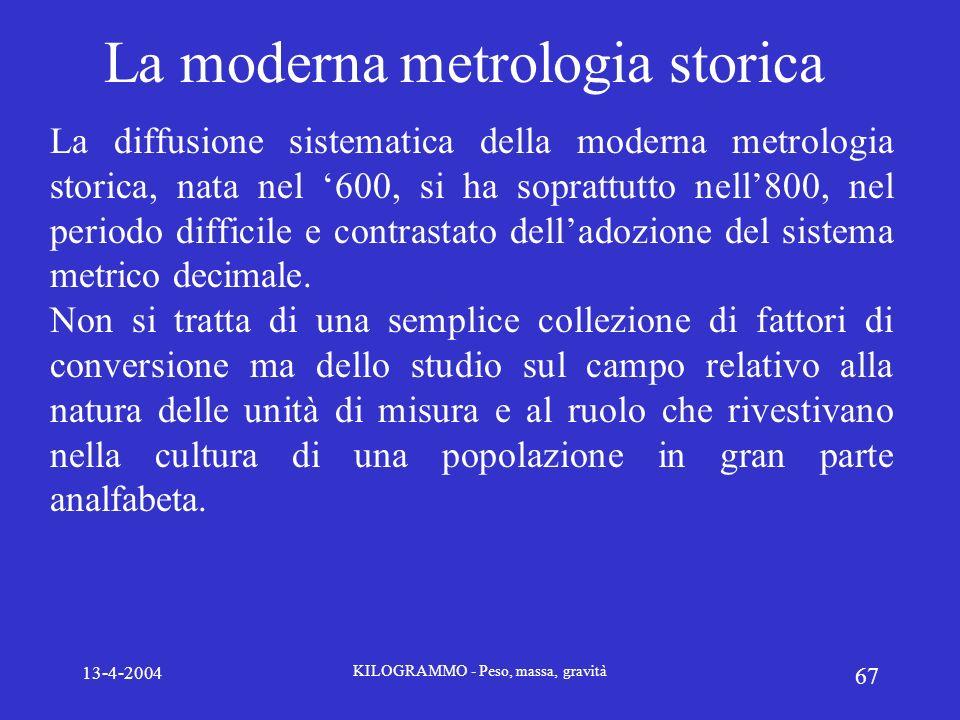 13-4-2004 KILOGRAMMO - Peso, massa, gravità 67 La moderna metrologia storica La diffusione sistematica della moderna metrologia storica, nata nel 600,