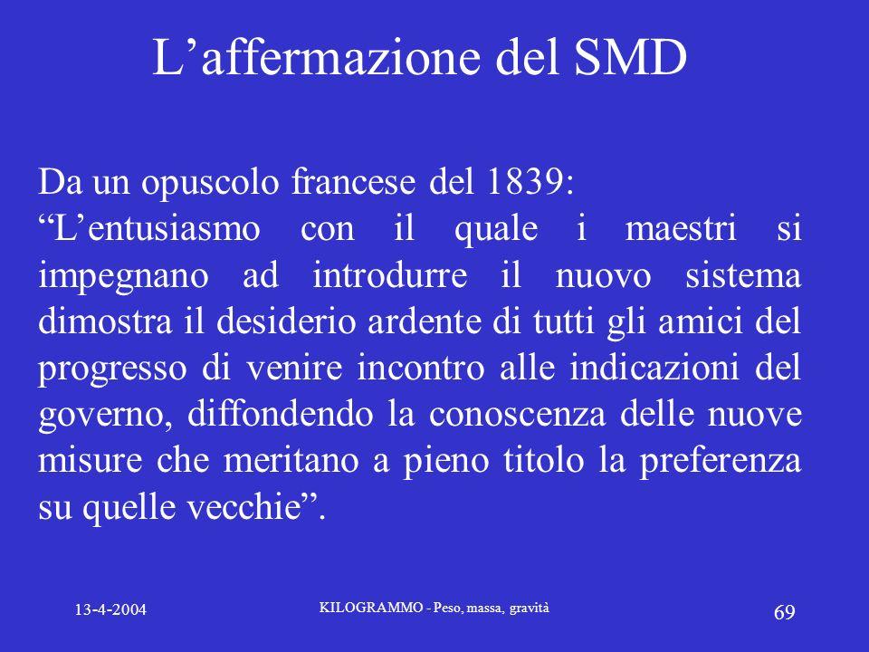 13-4-2004 KILOGRAMMO - Peso, massa, gravità 69 Laffermazione del SMD Da un opuscolo francese del 1839: Lentusiasmo con il quale i maestri si impegnano