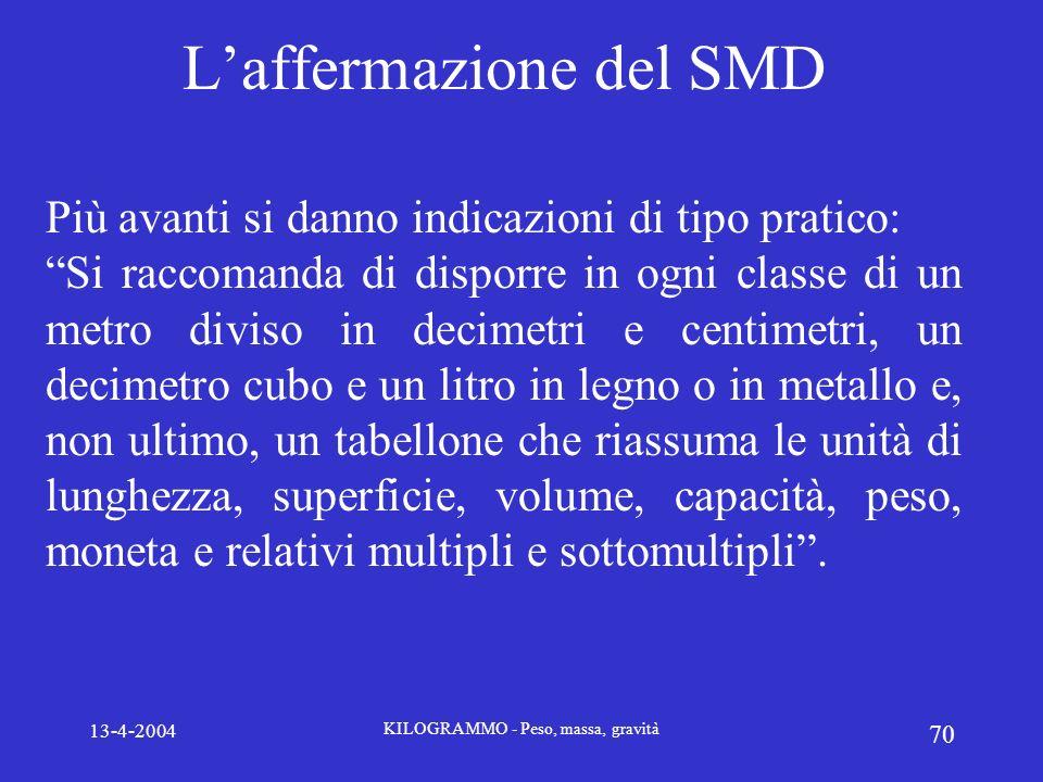 13-4-2004 KILOGRAMMO - Peso, massa, gravità 70 Laffermazione del SMD Più avanti si danno indicazioni di tipo pratico: Si raccomanda di disporre in ogn