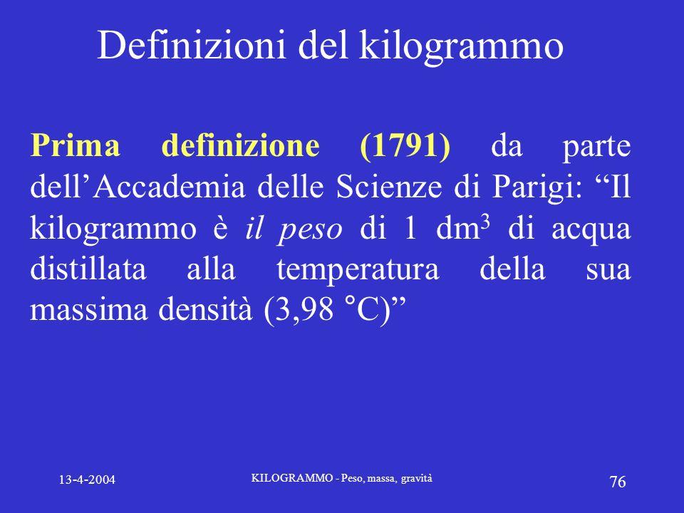 13-4-2004 KILOGRAMMO - Peso, massa, gravità 76 Definizioni del kilogrammo Prima definizione (1791) da parte dellAccademia delle Scienze di Parigi: Il