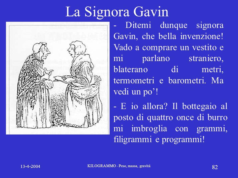 13-4-2004 KILOGRAMMO - Peso, massa, gravità 82 La Signora Gavin - Ditemi dunque signora Gavin, che bella invenzione! Vado a comprare un vestito e mi p