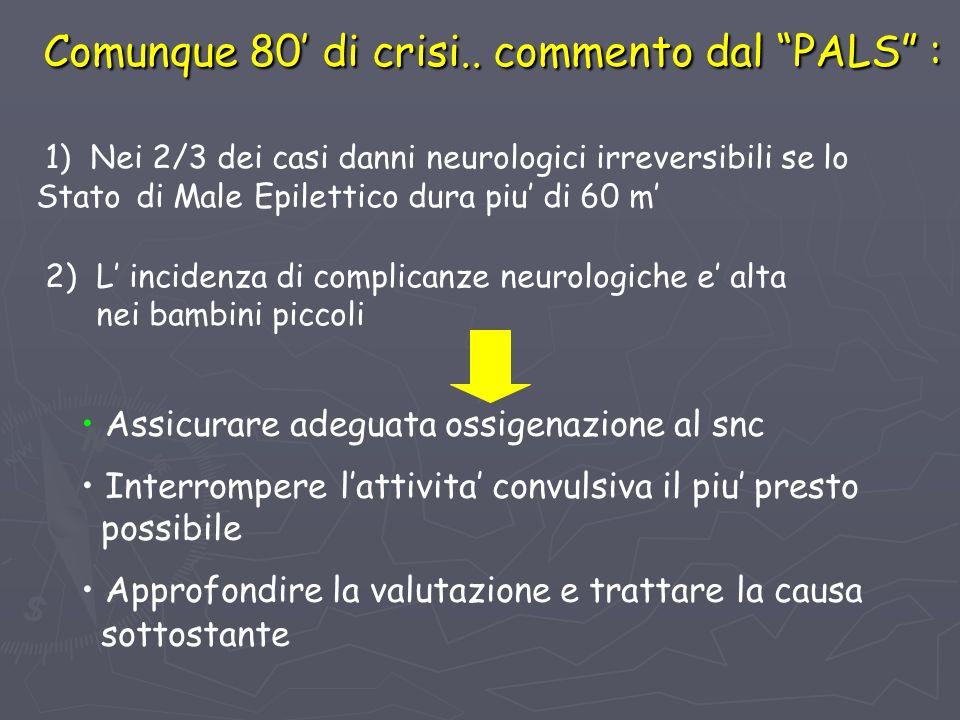 Comunque 80 di crisi.. commento dal PALS : 1) Nei 2/3 dei casi danni neurologici irreversibili se lo Stato di Male Epilettico dura piu di 60 m 2) L in