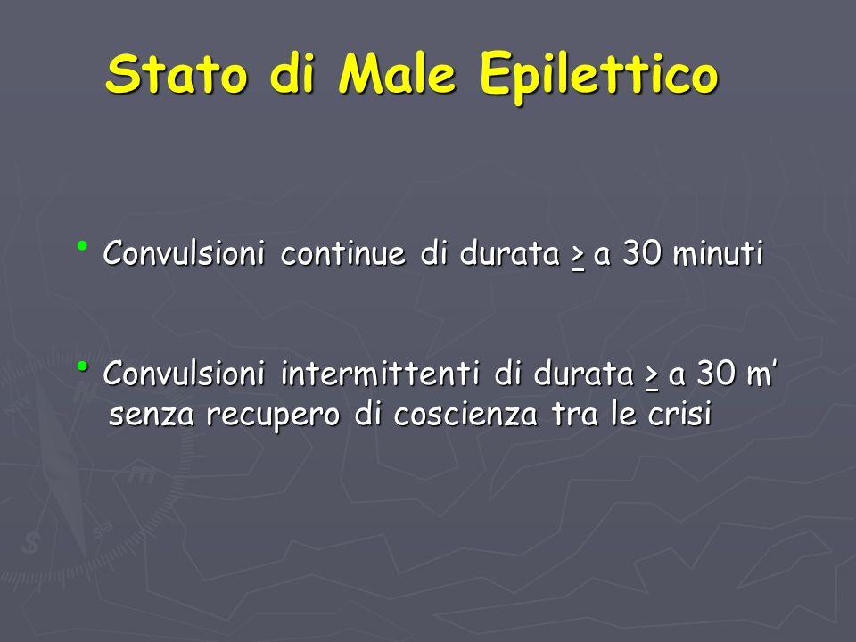 Stato di Male Epilettico Convulsioni continue di durata > a 30 minuti Convulsioni intermittenti di durata > a 30 m senza recupero di coscienza tra le