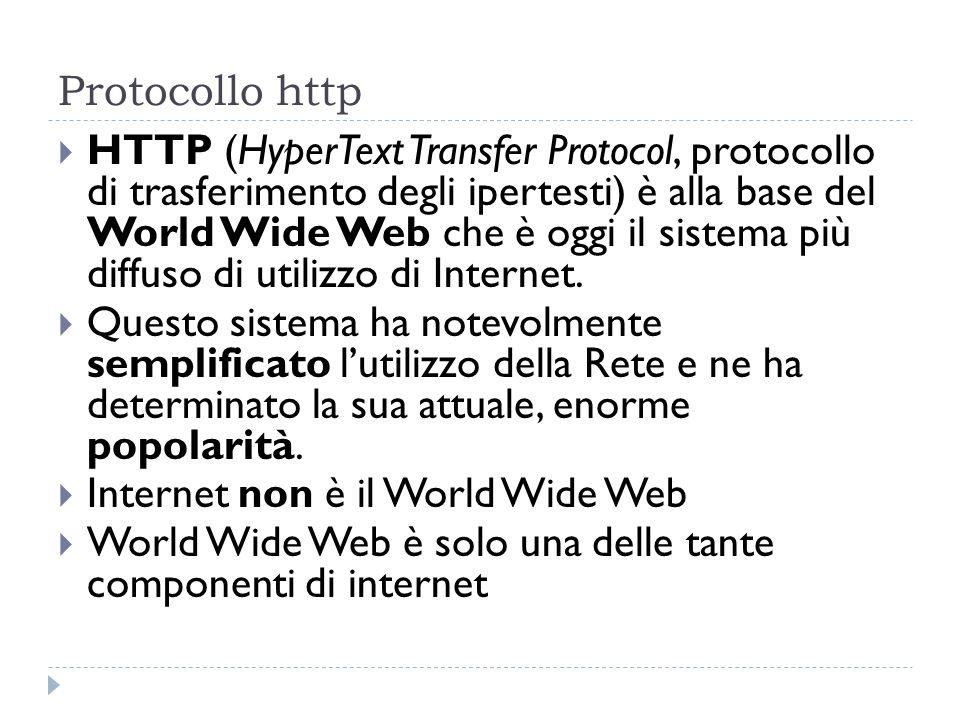 Protocollo http HTTP (HyperText Transfer Protocol, protocollo di trasferimento degli ipertesti) è alla base del World Wide Web che è oggi il sistema p