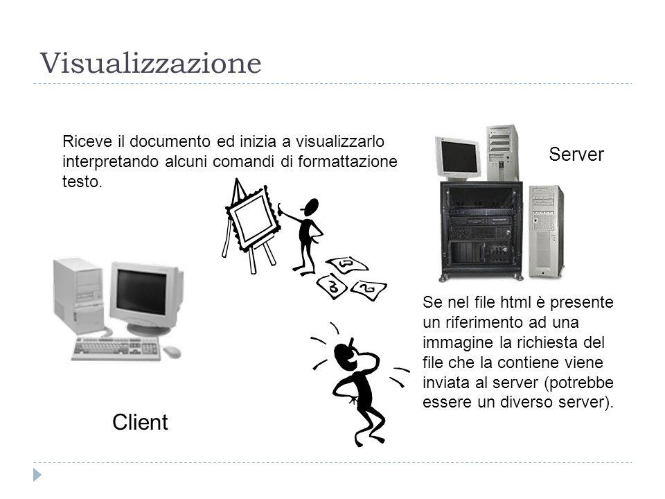 Visualizzazione Client Server Riceve il documento ed inizia a visualizzarlo interpretando alcuni comandi di formattazione testo. Se nel file html è pr