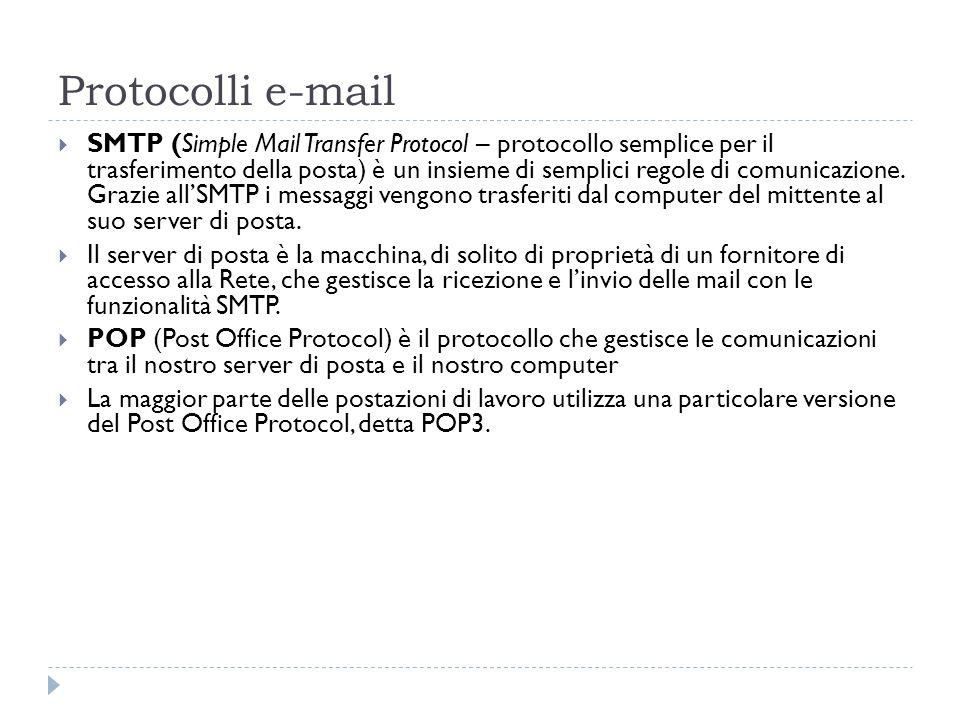 Protocolli e-mail SMTP (Simple Mail Transfer Protocol – protocollo semplice per il trasferimento della posta) è un insieme di semplici regole di comun
