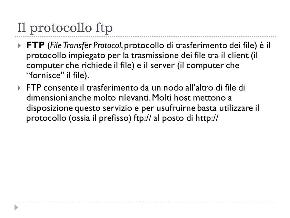 Il protocollo ftp FTP (File Transfer Protocol, protocollo di trasferimento dei file) è il protocollo impiegato per la trasmissione dei file tra il cli