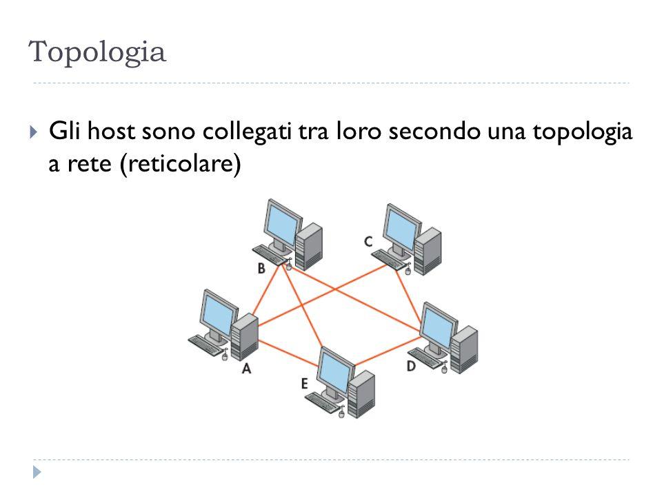 Tipi di collegamento Oltre che dalle tradizionali linee telefoniche, la connessione tra i vari host è garantita da unampia varietà di collegamenti superveloci: fibre ottiche, cavi coassiali, satelliti, ponti radio.