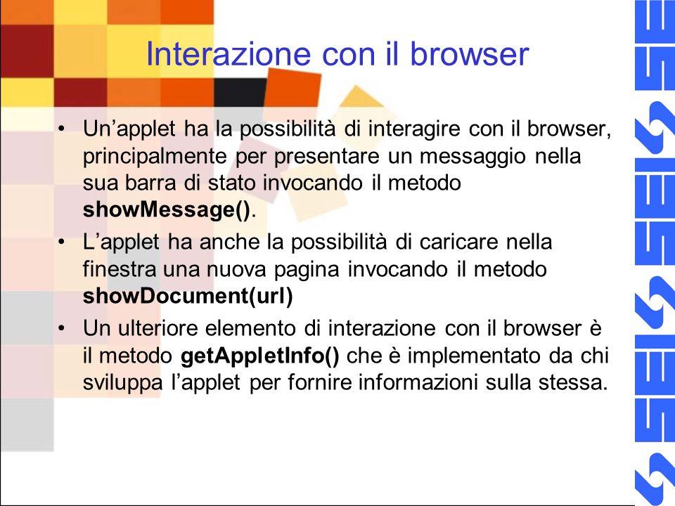 Interazione con il browser Unapplet ha la possibilità di interagire con il browser, principalmente per presentare un messaggio nella sua barra di stato invocando il metodo showMessage().