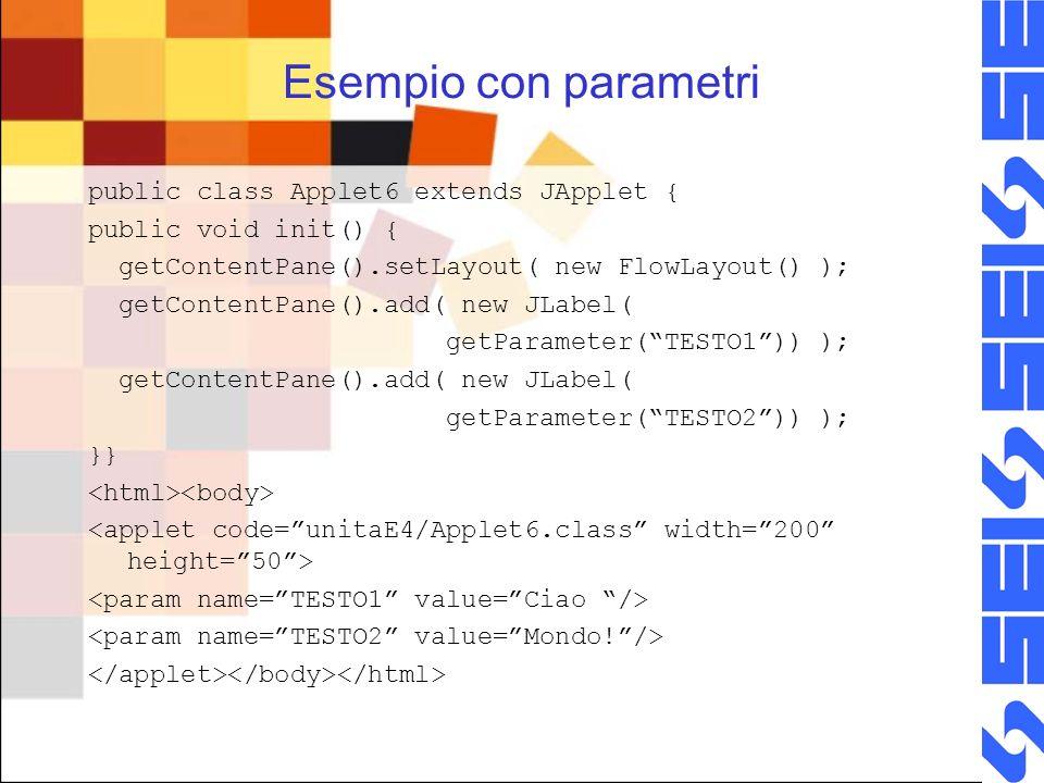 Esempio con parametri public class Applet6 extends JApplet { public void init() { getContentPane().setLayout( new FlowLayout() ); getContentPane().add( new JLabel( getParameter(TESTO1)) ); getContentPane().add( new JLabel( getParameter(TESTO2)) ); }}