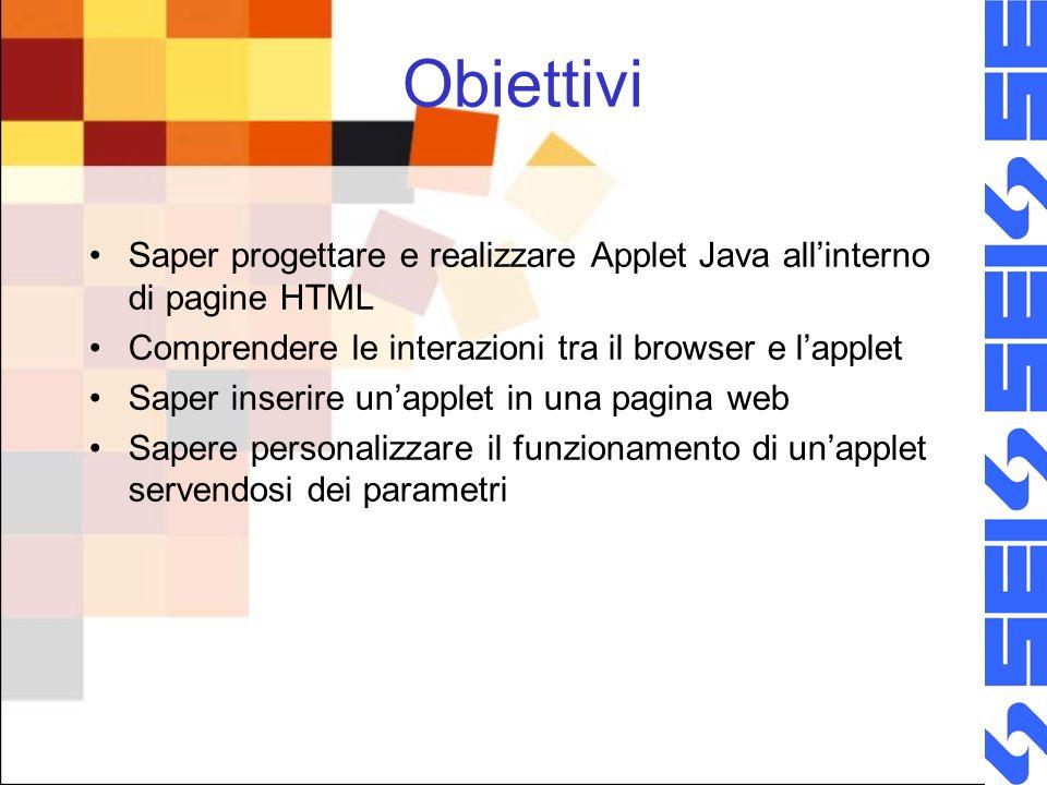 Obiettivi Saper progettare e realizzare Applet Java allinterno di pagine HTML Comprendere le interazioni tra il browser e lapplet Saper inserire unapplet in una pagina web Sapere personalizzare il funzionamento di unapplet servendosi dei parametri