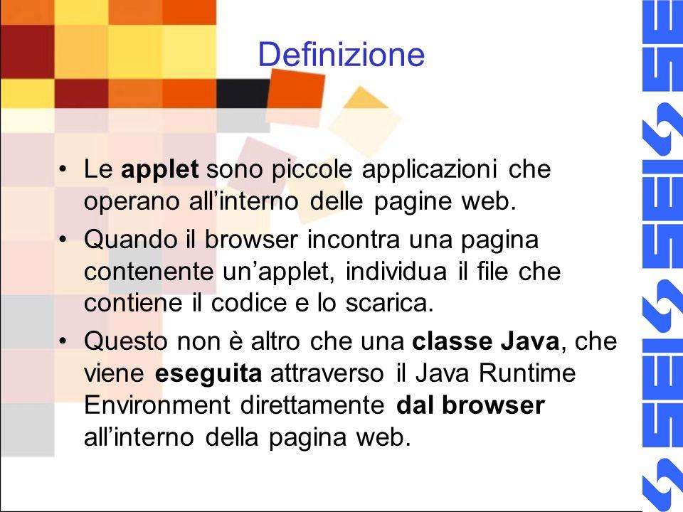Definizione Le applet sono piccole applicazioni che operano allinterno delle pagine web.