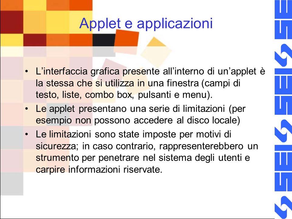 Applet e applicazioni Linterfaccia grafica presente allinterno di unapplet è la stessa che si utilizza in una finestra (campi di testo, liste, combo box, pulsanti e menu).