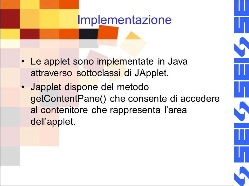 Implementazione Le applet sono implementate in Java attraverso sottoclassi di JApplet.