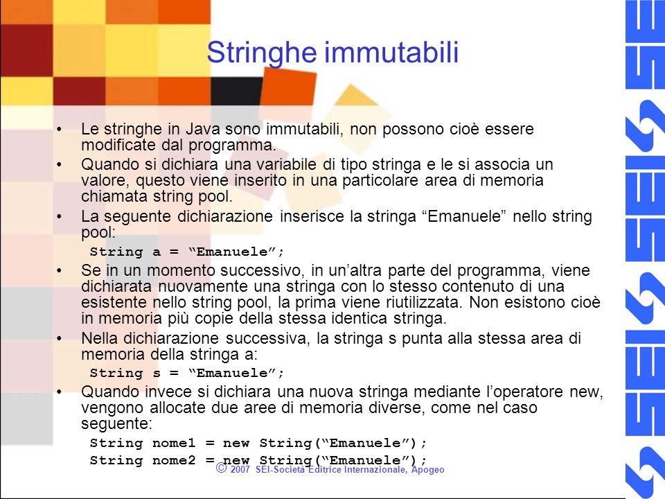 © 2007 SEI-Società Editrice Internazionale, Apogeo Stringhe immutabili Le stringhe in Java sono immutabili, non possono cioè essere modificate dal programma.