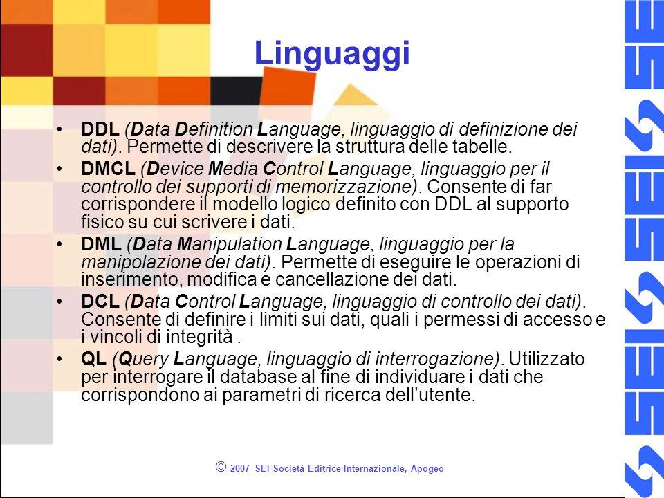 © 2007 SEI-Società Editrice Internazionale, Apogeo Linguaggi DDL (Data Definition Language, linguaggio di definizione dei dati).