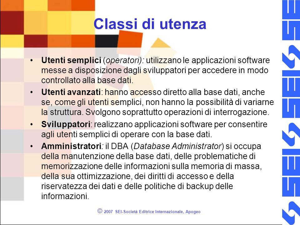 © 2007 SEI-Società Editrice Internazionale, Apogeo Classi di utenza Utenti semplici (operatori): utilizzano le applicazioni software messe a disposizione dagli sviluppatori per accedere in modo controllato alla base dati.