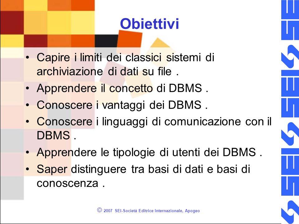 © 2007 SEI-Società Editrice Internazionale, Apogeo Obiettivi Capire i limiti dei classici sistemi di archiviazione di dati su file.