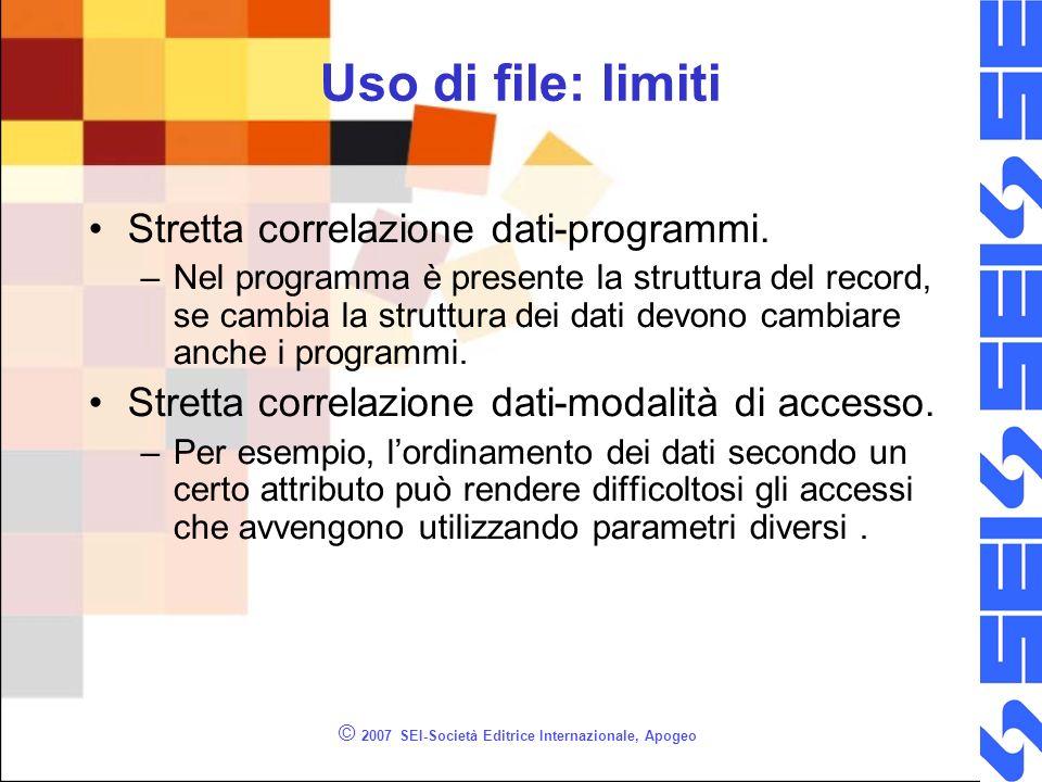 © 2007 SEI-Società Editrice Internazionale, Apogeo Uso di file: limiti Stretta correlazione dati-programmi.