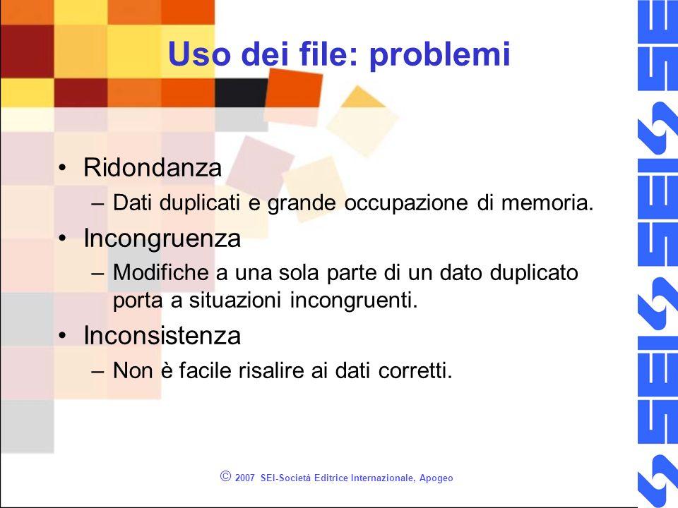 © 2007 SEI-Società Editrice Internazionale, Apogeo Uso dei file: problemi Ridondanza –Dati duplicati e grande occupazione di memoria.