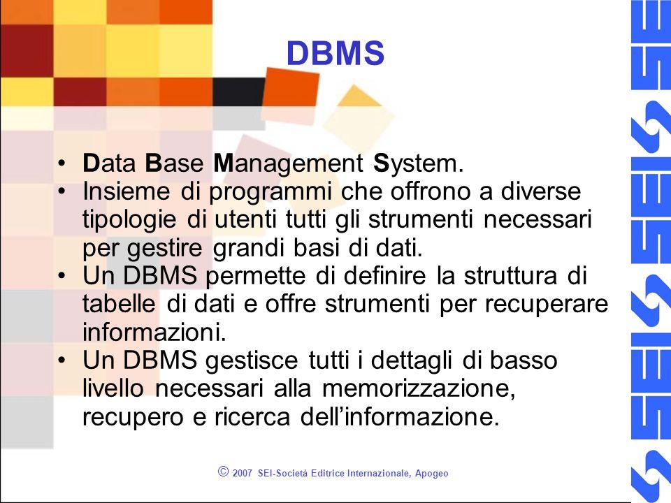 © 2007 SEI-Società Editrice Internazionale, Apogeo DBMS Data Base Management System.