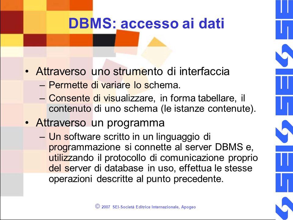 © 2007 SEI-Società Editrice Internazionale, Apogeo DBMS: accesso ai dati Attraverso uno strumento di interfaccia –Permette di variare lo schema.