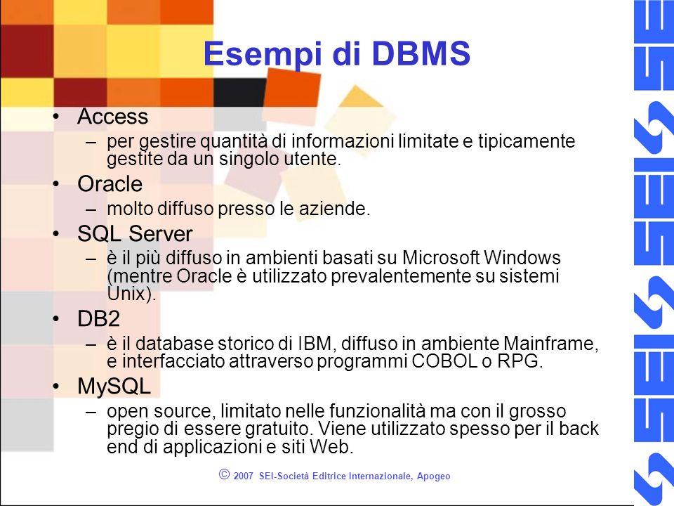 © 2007 SEI-Società Editrice Internazionale, Apogeo Esempi di DBMS Access –per gestire quantità di informazioni limitate e tipicamente gestite da un singolo utente.