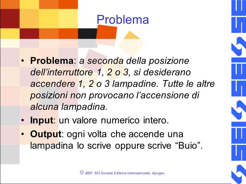 © 2007 SEI-Società Editrice Internazionale, Apogeo Problema Problema: a seconda della posizione dellinterruttore 1, 2 o 3, si desiderano accendere 1, 2 o 3 lampadine.