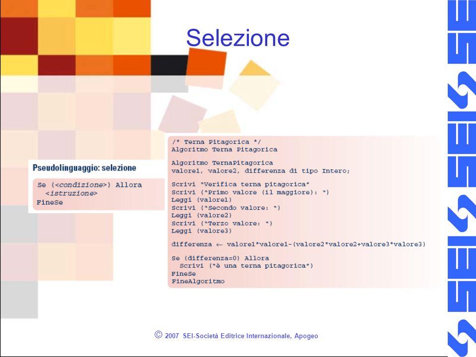 © 2007 SEI-Società Editrice Internazionale, Apogeo Linguaggio C - if Ogni linguaggio di programmazione presenta almeno una struttura di controllo decisionale.