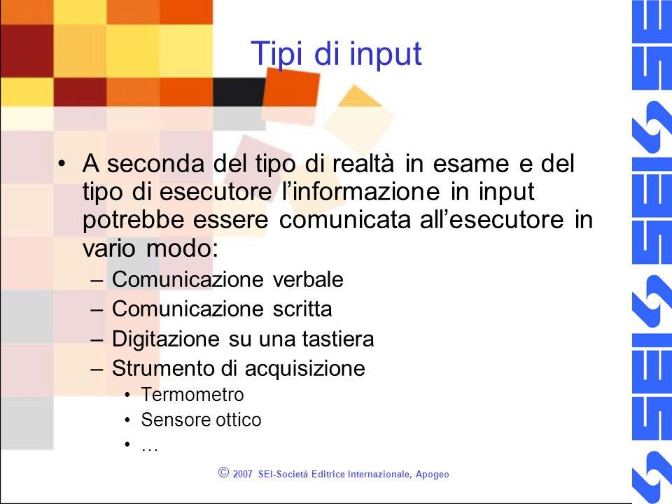 © 2007 SEI-Società Editrice Internazionale, Apogeo Tipi di input A seconda del tipo di realtà in esame e del tipo di esecutore linformazione in input