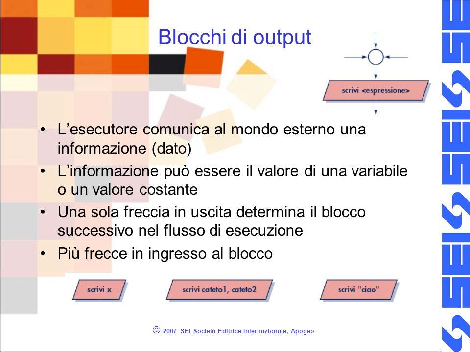 © 2007 SEI-Società Editrice Internazionale, Apogeo Blocchi di output Lesecutore comunica al mondo esterno una informazione (dato) Linformazione può es