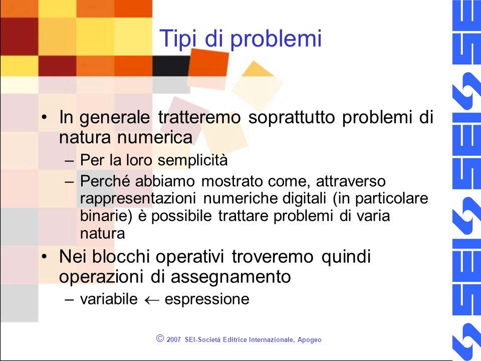© 2007 SEI-Società Editrice Internazionale, Apogeo Tipi di problemi In generale tratteremo soprattutto problemi di natura numerica –Per la loro sempli