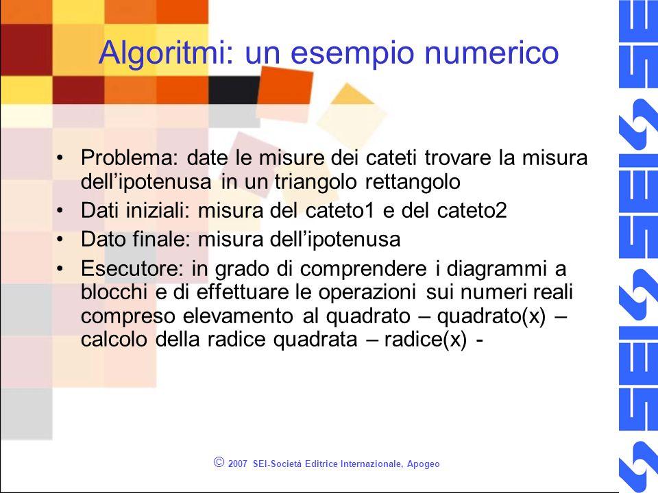 © 2007 SEI-Società Editrice Internazionale, Apogeo Algoritmi: un esempio numerico Problema: date le misure dei cateti trovare la misura dellipotenusa
