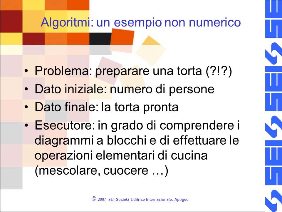 © 2007 SEI-Società Editrice Internazionale, Apogeo Algoritmi: un esempio non numerico Problema: preparare una torta (?!?) Dato iniziale: numero di per