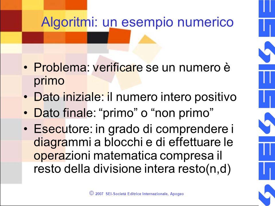 © 2007 SEI-Società Editrice Internazionale, Apogeo Algoritmi: un esempio numerico Problema: verificare se un numero è primo Dato iniziale: il numero i