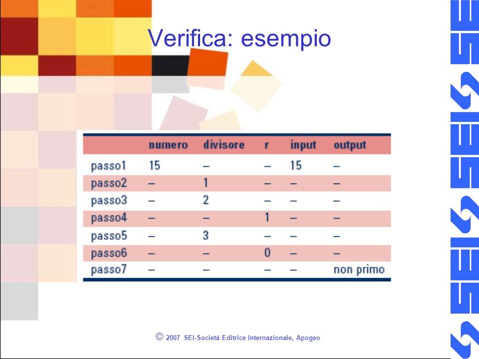 © 2007 SEI-Società Editrice Internazionale, Apogeo Verifica: esempio