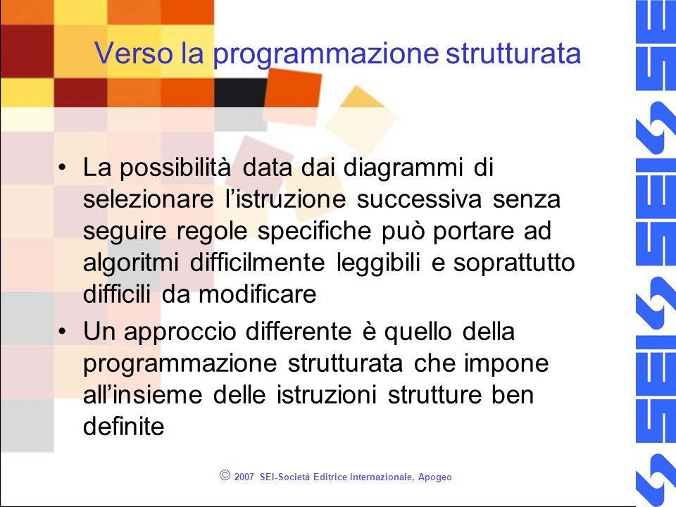 © 2007 SEI-Società Editrice Internazionale, Apogeo Verso la programmazione strutturata La possibilità data dai diagrammi di selezionare listruzione su