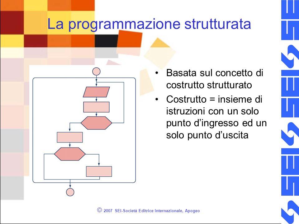 © 2007 SEI-Società Editrice Internazionale, Apogeo La programmazione strutturata Basata sul concetto di costrutto strutturato Costrutto = insieme di i