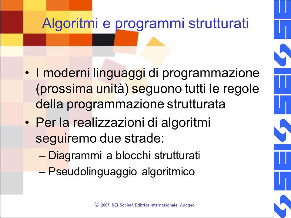 © 2007 SEI-Società Editrice Internazionale, Apogeo Algoritmi e programmi strutturati I moderni linguaggi di programmazione (prossima unità) seguono tu