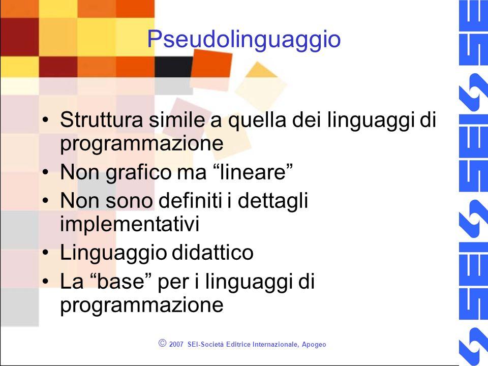 © 2007 SEI-Società Editrice Internazionale, Apogeo Pseudolinguaggio Struttura simile a quella dei linguaggi di programmazione Non grafico ma lineare N