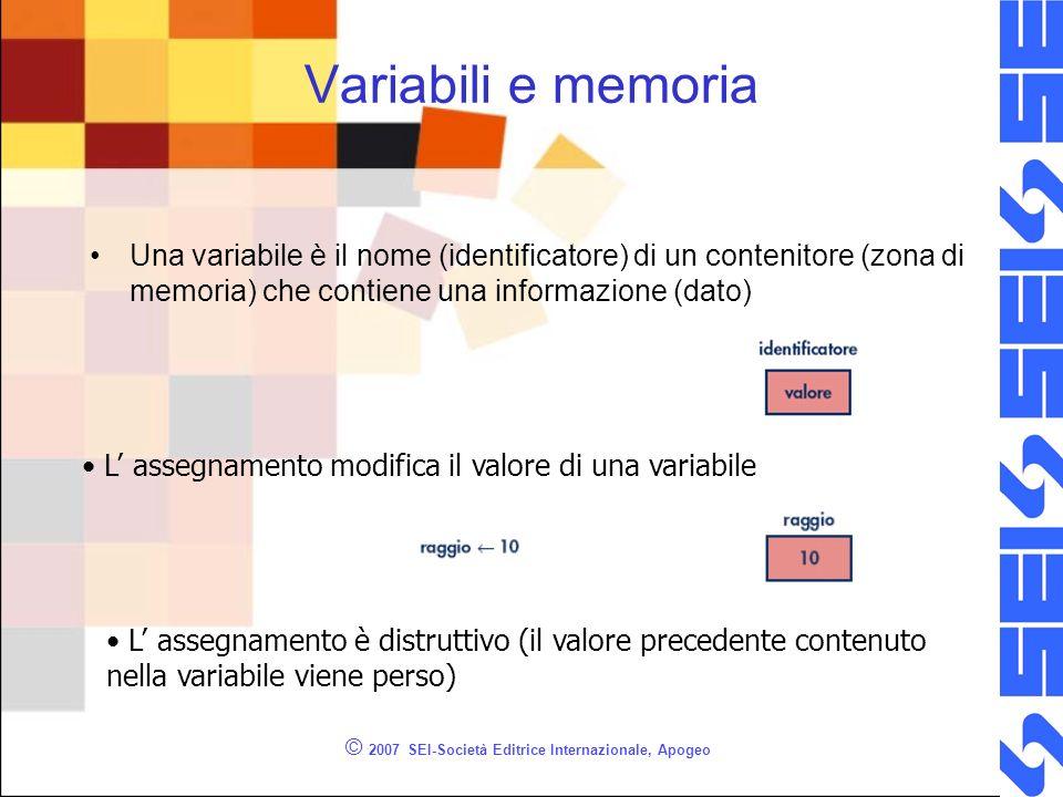 © 2007 SEI-Società Editrice Internazionale, Apogeo Tipo di dato Ad una variabile viene associato un tipo di dato Il tipo di dato definisce –Linsieme dei valori che la variabile può assumere –Linsieme delle operazioni ammesse sui dati Un esempio è il tipo di dato intero che definisce –Linsieme dei numeri interi –Linsieme delle operazioni (+ - * /)