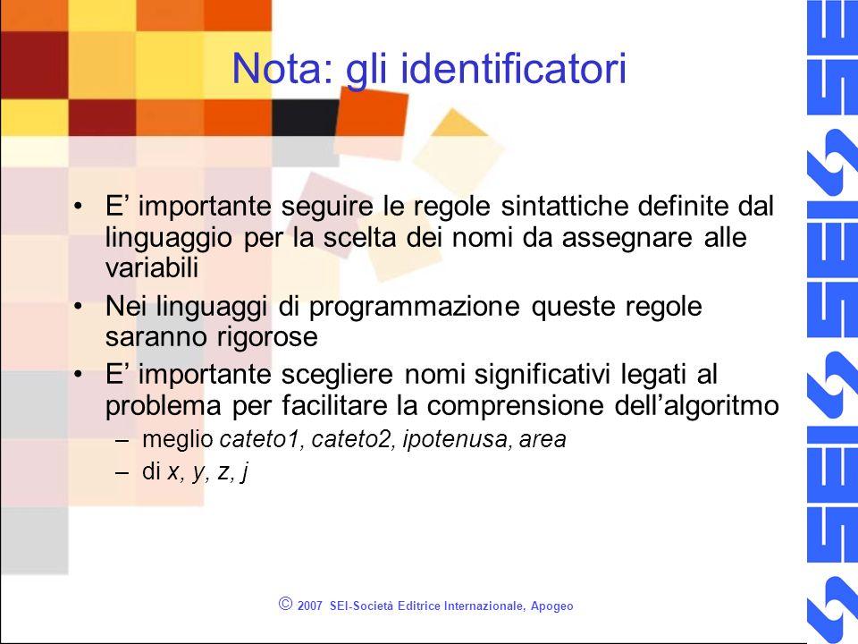 © 2007 SEI-Società Editrice Internazionale, Apogeo Nota: gli identificatori E importante seguire le regole sintattiche definite dal linguaggio per la