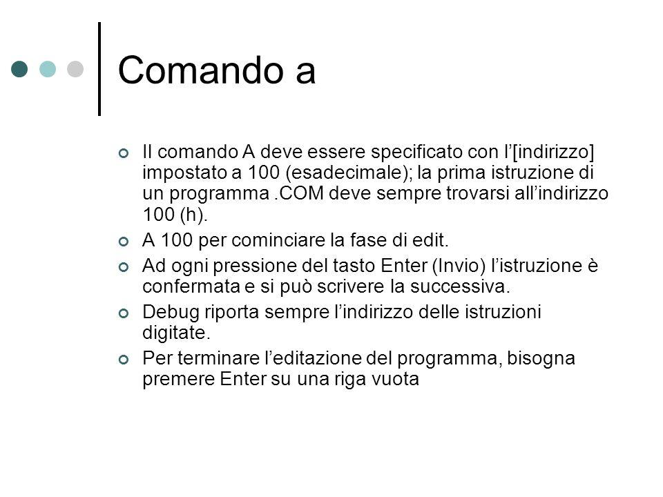 Comando a Il comando A deve essere specificato con l[indirizzo] impostato a 100 (esadecimale); la prima istruzione di un programma.COM deve sempre tro