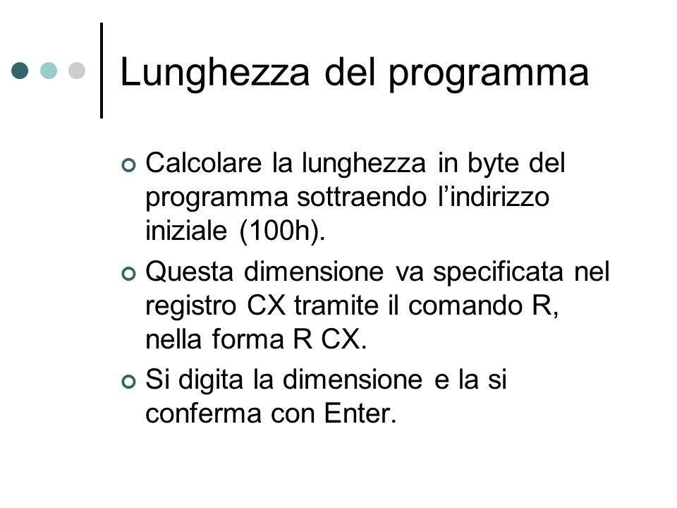 Lunghezza del programma Calcolare la lunghezza in byte del programma sottraendo lindirizzo iniziale (100h). Questa dimensione va specificata nel regis