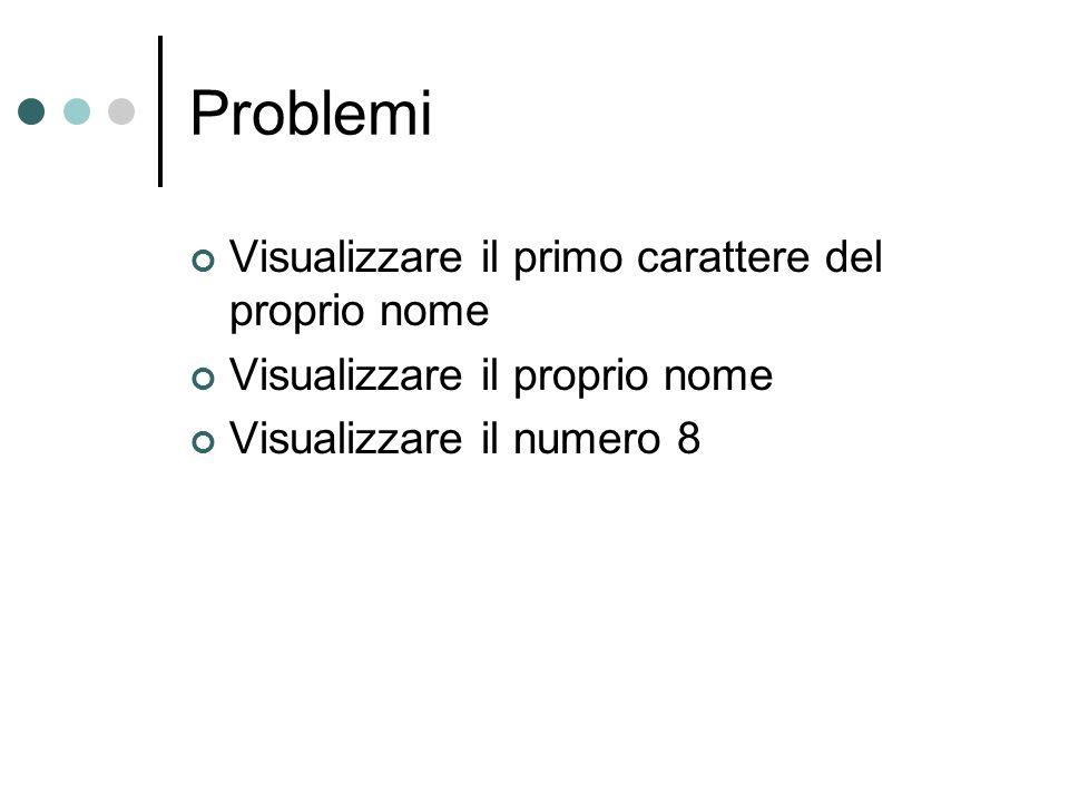 Problemi Visualizzare il primo carattere del proprio nome Visualizzare il proprio nome Visualizzare il numero 8