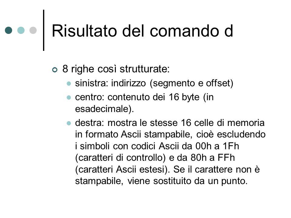 Risultato del comando d 8 righe così strutturate: sinistra: indirizzo (segmento e offset) centro: contenuto dei 16 byte (in esadecimale). destra: most