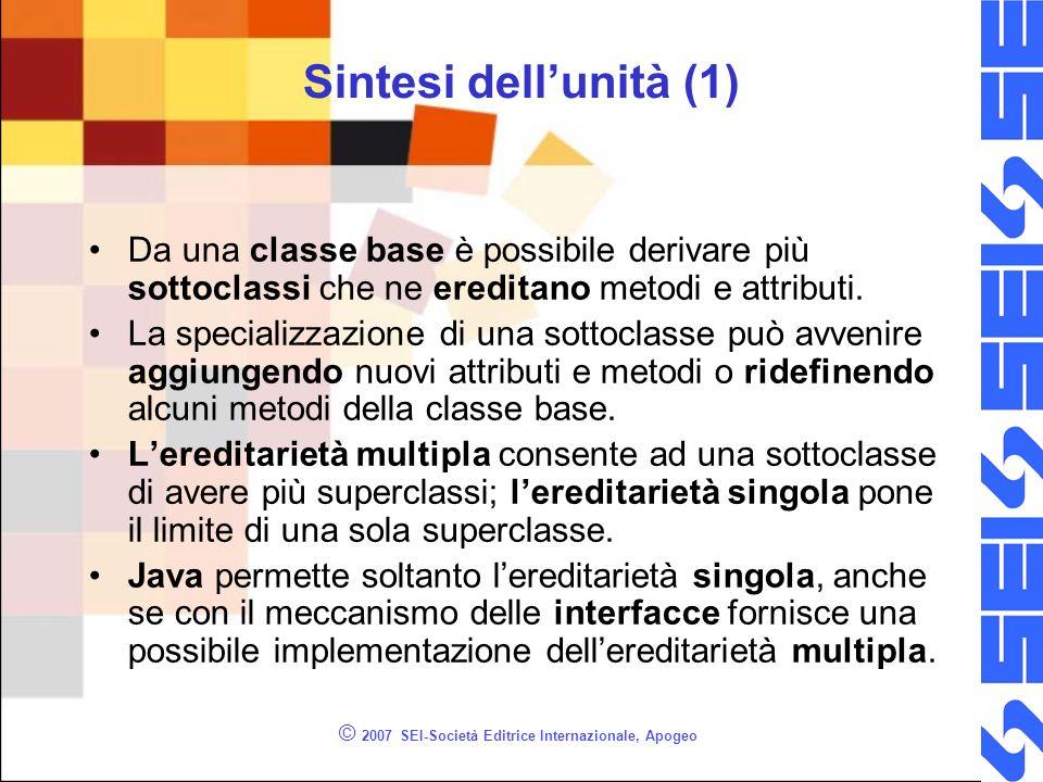 © 2007 SEI-Società Editrice Internazionale, Apogeo Sintesi dellunità (1) Da una classe base è possibile derivare più sottoclassi che ne ereditano metodi e attributi.