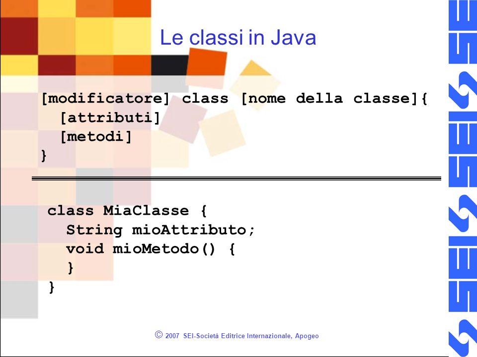 © 2007 SEI-Società Editrice Internazionale, Apogeo Le classi in Java [modificatore] class [nome della classe]{ [attributi] [metodi] } class MiaClasse { String mioAttributo; void mioMetodo() { }