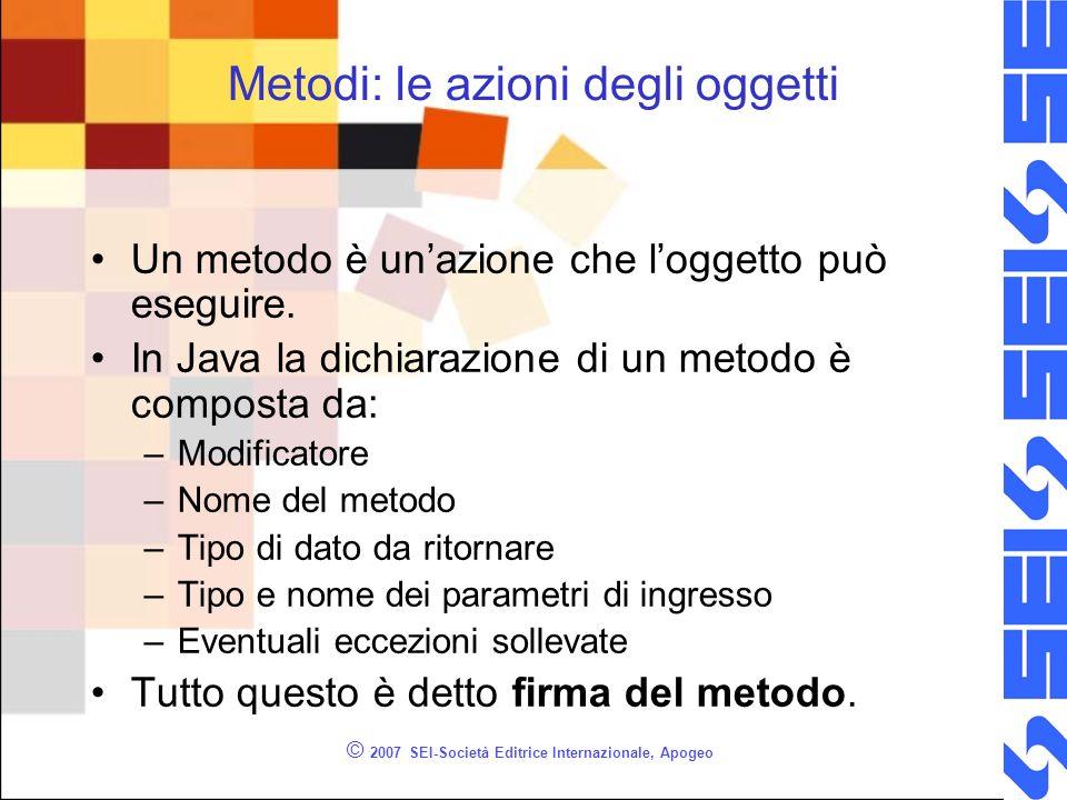 © 2007 SEI-Società Editrice Internazionale, Apogeo Metodi: le azioni degli oggetti Un metodo è unazione che loggetto può eseguire.